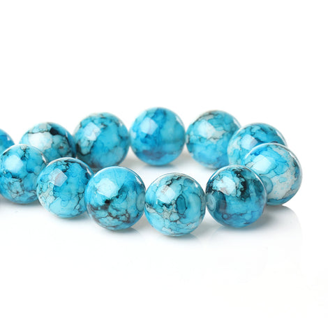 14mm Round Glass Beads, Turquoise Blue, Black, White Watercolor Beads, double strand, marble glass beads, bgl1264