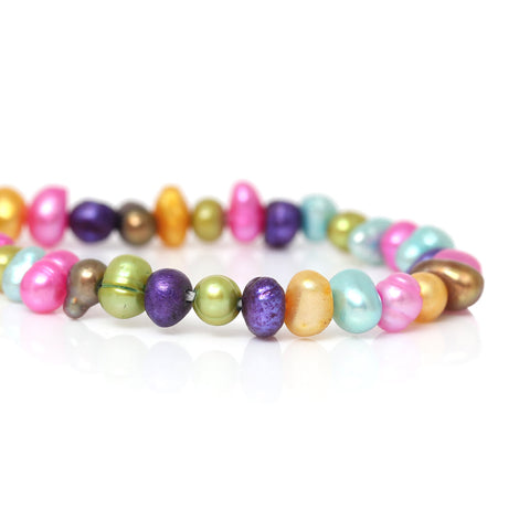 3mm to 6mm Potato Pearls, Small Rainbow Dyed Cultured Freshwater PEARL Beads, mixed bright colors, full strand, gpe0033