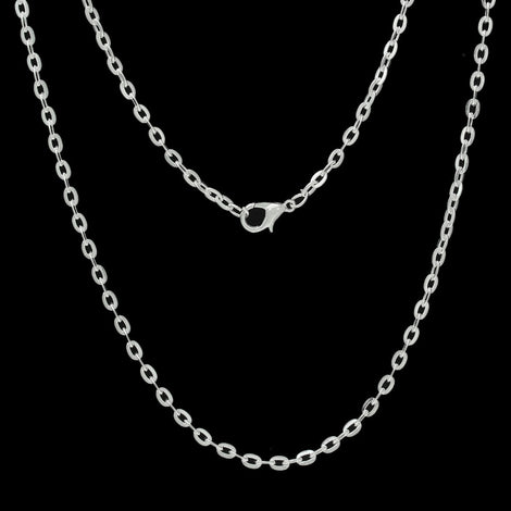 "One Dozen (12) Silver Plated Lobster Clasp Flat Cable Link Chain Necklaces 4x3mm, 30"" long  fch0274"