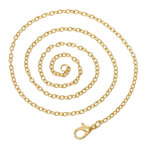 "One Dozen (12) Gold Plated Lobster Clasp Cable Link Chain Necklaces 4mm x 2.3mm, 16"" long  fch0391"