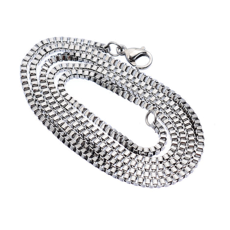 "10 Stainless Steel BOX Chain Necklaces with Lobster Clasp, non tarnish, 22"" long 2mm thick, fch0513"