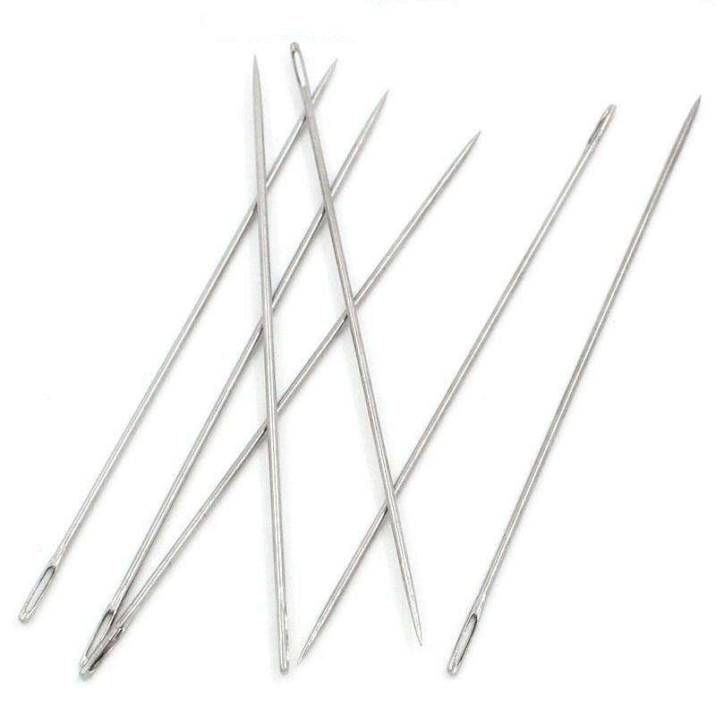 "5 Silver Tone Bead Threading Needles, 89mm (3-1/2"") long  tol0177"