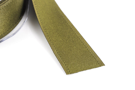 "1"" inch wide OLIVE GREEN Double Faced Satin Ribbon with Grosgrain Edge 2 yards (6 feet)  rib0092"