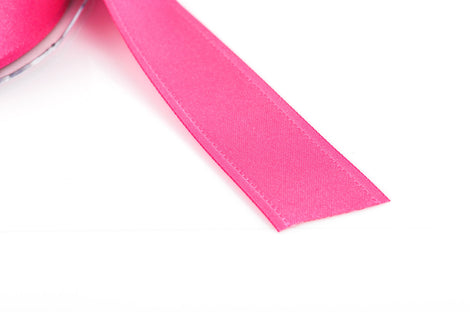 "1"" inch wide HOT PINK Double Faced Satin Ribbon with Grosgrain Edge 2 yards (6 feet)  rib0103"