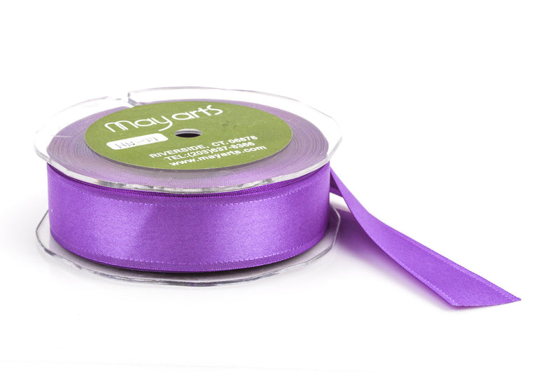 "1"" inch wide PURPLE Double Faced Satin Ribbon with Grosgrain Edge 2 yards (6 feet)  rib0097"