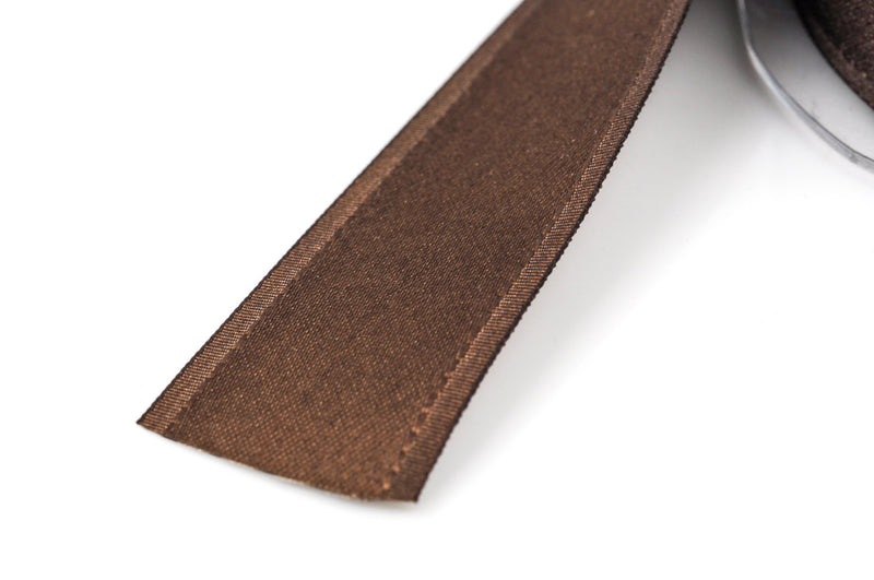 "1"" inch wide CHOCOLATE BROWN Double Faced Satin Ribbon with Grosgrain Edge 2 yards (6 feet)  rib0100"