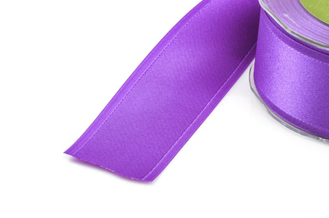 "1-1/2"" inch wide PURPLE Double Faced Satin Ribbon with Grosgrain Edge 2 yards (6 feet)  rib0114"