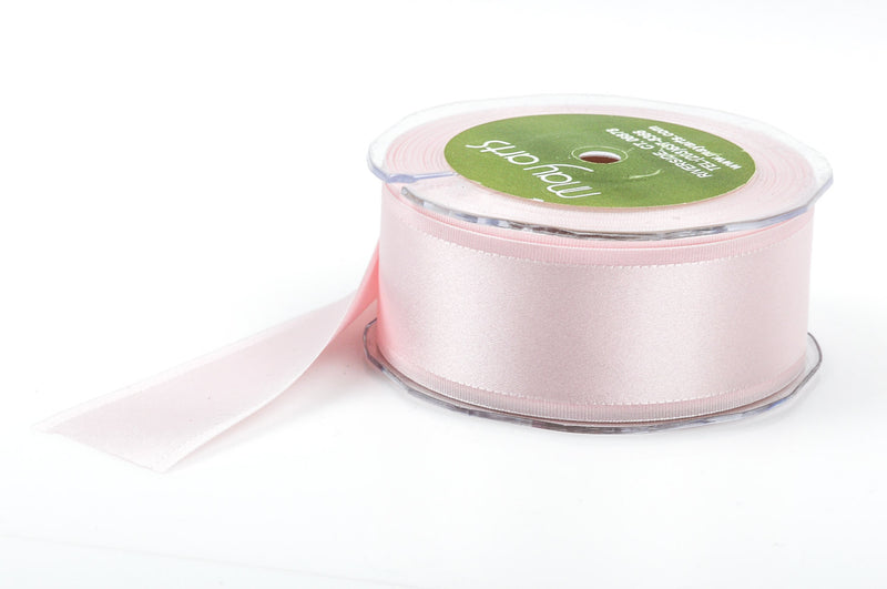 "1-1/2"" inch wide LIGHT PINK Double Faced Satin Ribbon with Grosgrain Edge 2 yards (6 feet)  rib0105"