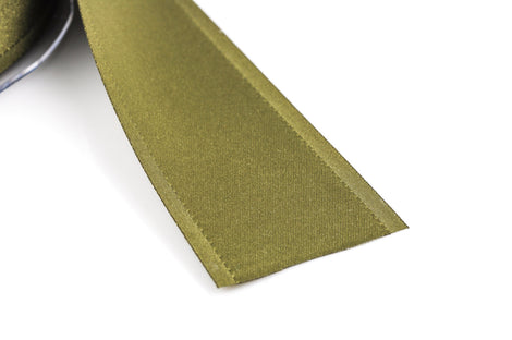 "1-1/2"" inch wide OLIVE GREEN Double Faced Satin Ribbon with Grosgrain Edge 2 yards (6 feet)  rib0113"