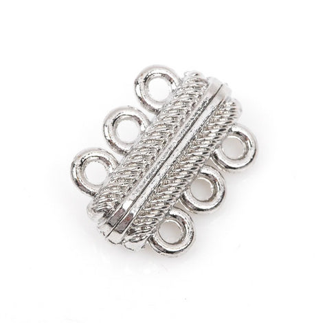 1 Silver Tone 3-Strand Magnetic Rectangle Connector Clasp, 23mm x 16mm for Multi Strand Bracelets and Necklaces  fcl0148