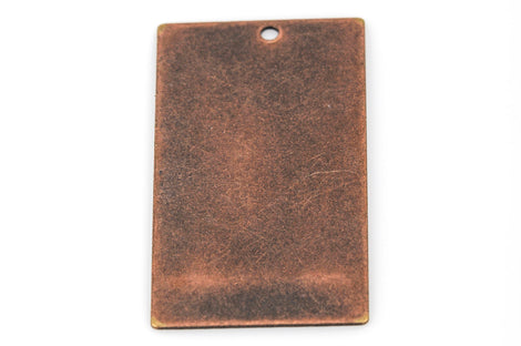 "10 Distressed Copper Stamping Blanks, Charms, LARGE RECTANGLE shape 1-1/4"" x 3/4"" 24 gauge msb0287"