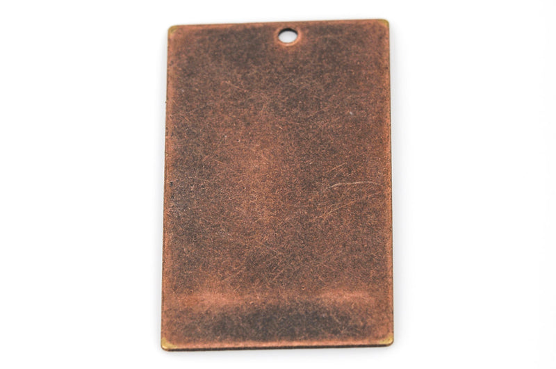 "10 Distressed Copper Plated Stamping Blanks, Charms, LARGE RECTANGLE shape 1-1/4"" x 3/4"" 24 gauge msb0287"