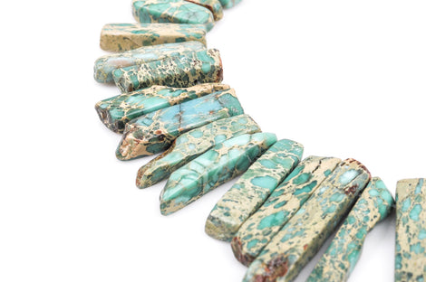 "Aqua Terra Jasper Gemstone Stick Beads, 1/2"" to 1-1/2"" polished natural gemstone, blue green stone, full strand,  about 60-65 beads,  gja0075"