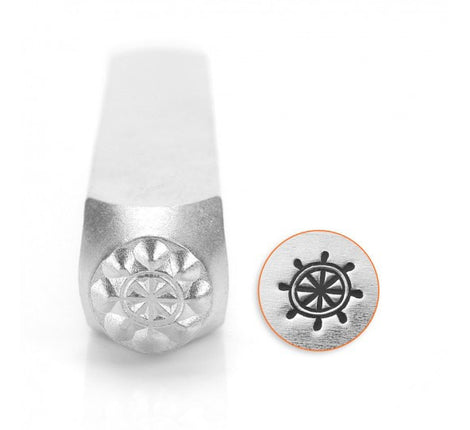 ImpressArt Metal Design Stamp,  6mm SHIP WHEEL, beach theme, sailing stamps, boat stamps tol0416