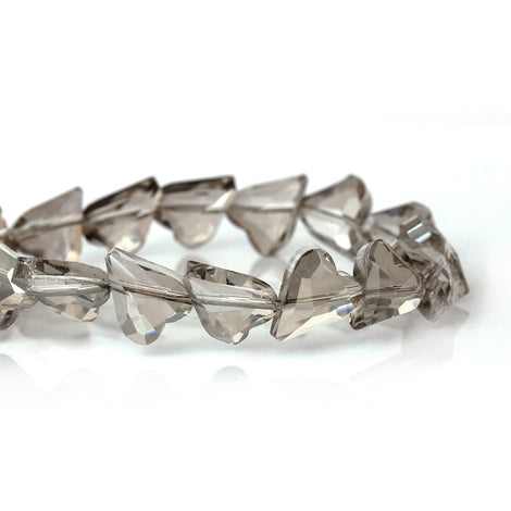 12x10mm HEART Crystal Beads, Glass Beads, French grey, drilled diagonally, 30 beads  bgl1272