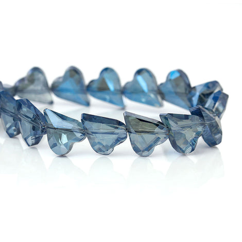 12x10mm HEART Crystal Beads, Glass Beads, BLUE Vitrail, drilled diagonally, 30 beads  bgl1275