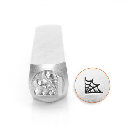 6mm CORNER SPIDER WEB Metal Design Stamp, Halloween theme, gothic tol0415