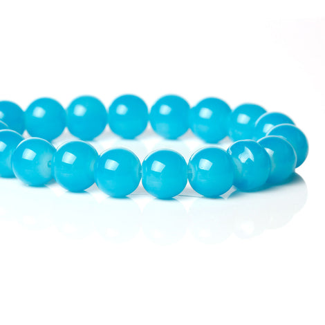 "10mm Bright TURQUOISE BLUE Glass Beads, Round, 32"" strand (about 86 beads)  bgl1277"