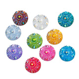 100 Round Resin Metallic Faux Druzy Cabochons, 2-hole sequins, 2 hole connector links, mixed colors, 10mm  cab0335