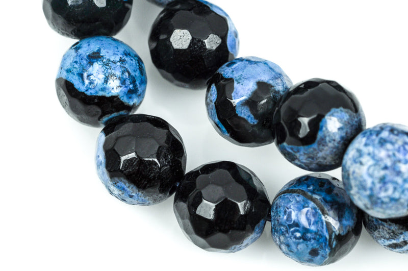 8mm DENIM BLUE AGATE Round Gemstone Beads, faceted, blue and black, natural, full strand  gag0173