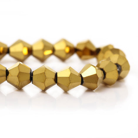 6mm GOLD METALLIC Faceted Bicone Crystal Glass Beads, full strand (about 50 Beads)   bgl0486