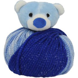 BLUE TEDDY BEAR Knitting Hat Kit, Beanie Hat Kit, includes yarn and plush stuffed character, Top This!™ knt0089