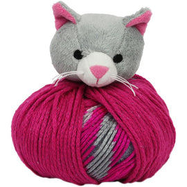 GREY KITTY CAT Knitting Hat Kit, Beanie Hat Kit, includes yarn and plush stuffed character, Top This!™ knt0087