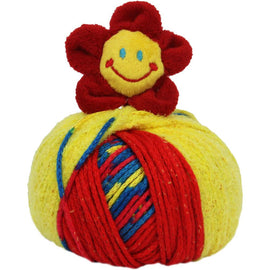RED FLOWER Knitting Hat Kit, Beanie Hat Kit, includes yarn and plush stuffed character, Top This!™ knt0085