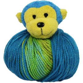 MONKEY Knitting Hat Kit, Beanie Hat Kit, includes yarn and plush stuffed character, Top This!™ knt0084