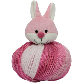 PINK BUNNY RABBIT Knitting Hat Kit, Beanie Hat Kit, includes yarn and plush stuffed character, Top This!™ knt0083