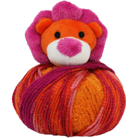 LION Knitting Hat Kit, Beanie Hat Kit, includes yarn and plush stuffed character, Top This!™ knt0091