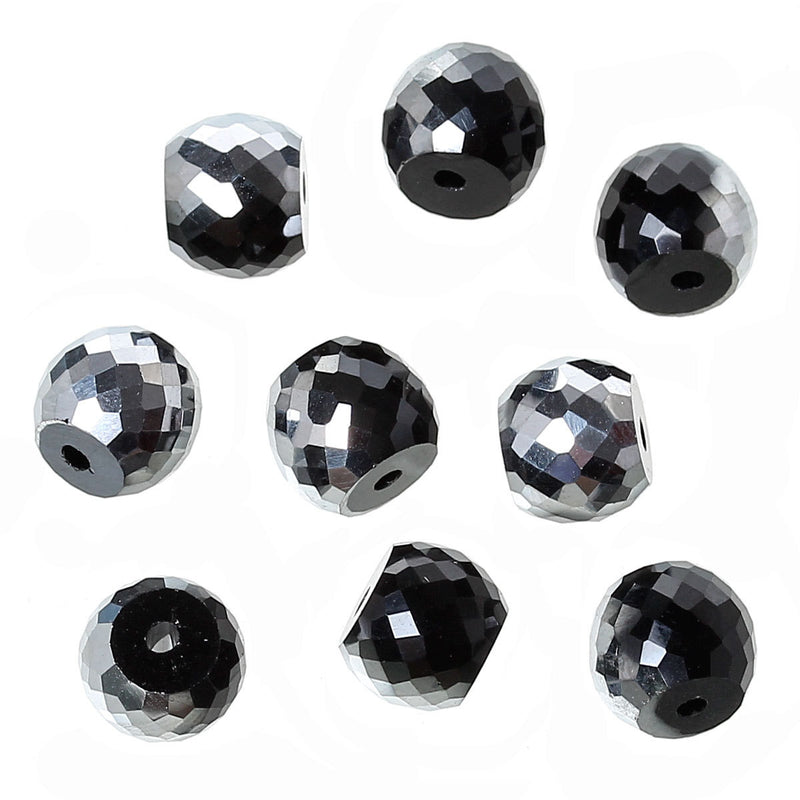 8mm BLACK and SILVER Half Plated Round Crystal Glass Beads, transparent, faceted, 30 beads, bgl1296