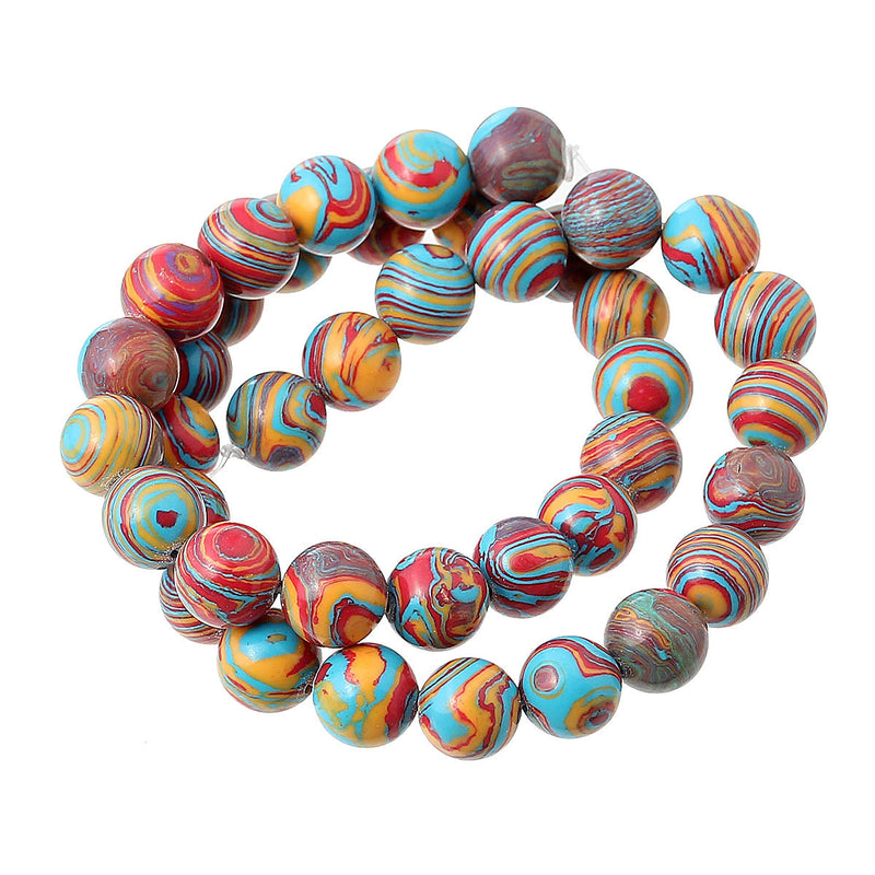 6mm Round Rainbow Swirl AGATE Beads, dyed, full strand, gag0200