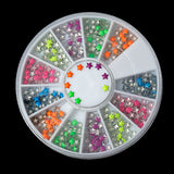 MIXED COLORS Acrylic Rhinestuds STAR in storage box, flat back cabochons, nail art, decoden, paper craft embellishment 3mm cry0116