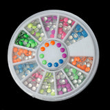 MIXED COLORS Acrylic Rhinestuds ROUND in storage box, flat back cabochons, nail art, decoden, paper craft embellishment 3mm cry0113