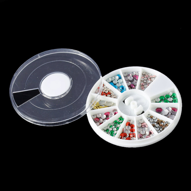 Mixed Colors Acrylic Rhinestones in storage box, flat back cabochon nail art, decoden, paper craft embellishment, mixed shapes 1.5mm cry0111