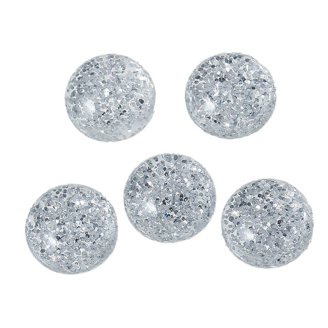 "100 Silver Glitter CABOCHONS, Resin Dome, Round cabochon, 12mm diameter, 1/2"" bulk, cab0362b"