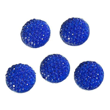 "25 RESIN DRUZY Style Pavé CABOCHONS, Royal Blue, 12mm diameter, 1/2"" cab0371a"