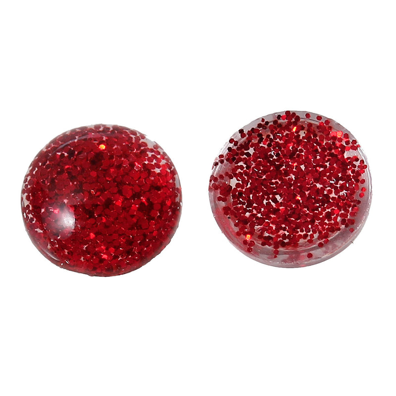 "25 RED Glitter CABOCHONS, Resin Dome, Round cabochon, 8mm diameter, 3/8"" cab0385a"