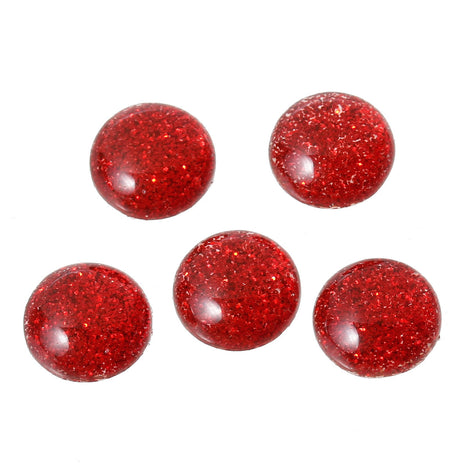 25 RED Glitter CABOCHONS, Resin Dome, Round cabochon, 10mm diameter, 00g, cab0384a