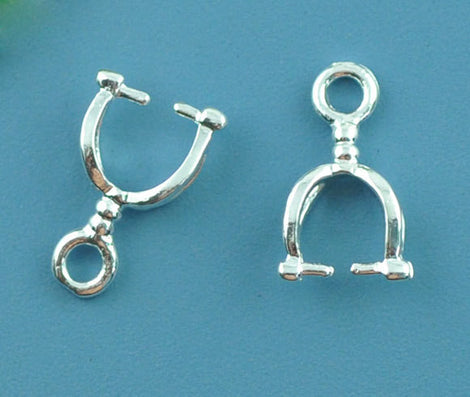 10 Silver Tone Pinch Bails with copper base, charm ring at top, for jewelry making 12x7mm  fba0060
