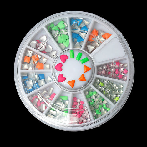 Neon Mixed Colors Acrylic Rhinestones, storage box, flat back cabochon nail art, decoden, paper craft embellishment, shapes 1.5mm cry0122