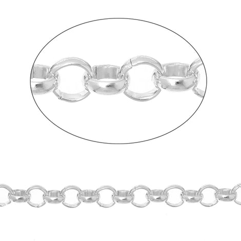 2 meters (about 6 feet) Silver ALUMINUM Round Cable Link Chain, Rolo Chain, 7mm links  fch0312