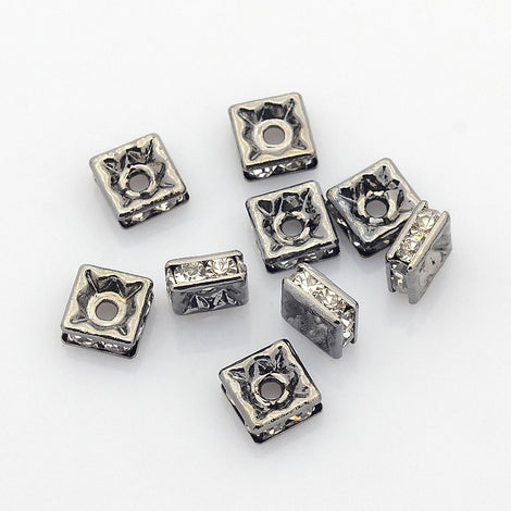 6mm Gunmetal Squaredelle Beads with Clear Rhinestone Crystals, 10 pieces . Square Beads, Smooth Edge, gunmetal black core  bme0374