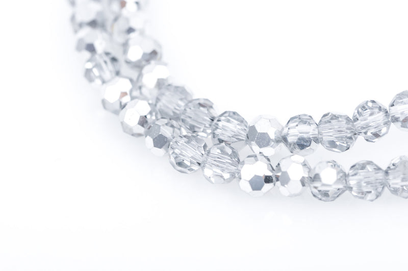 3mm Crystal ROUND Beads, silver and clear half plated . about 95 beads  bgl1327