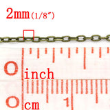 10 meters of Antiqued Bronze Flat Oval Cable Link Chain, soldered links are 2x1.5mm  fch0314
