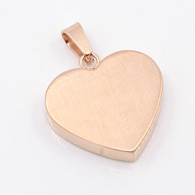 "1 ROSE GOLD Stainless Steel HEART Metal Stamping Blank Charm Pendant with Bail, 22mm wide (7/8""), very thick gauge msb0294"