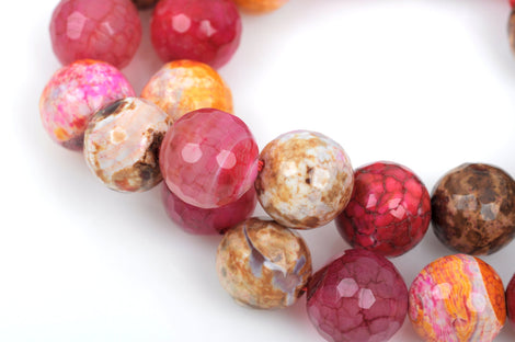 12mm Round Faceted STRAWBERRY SHORTCAKE AGATE Gemstone Beads, full strand, gag0201