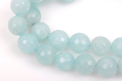 10mm Round Faceted ICE BLUE JADE Gemstone Beads, full strand gjd0127