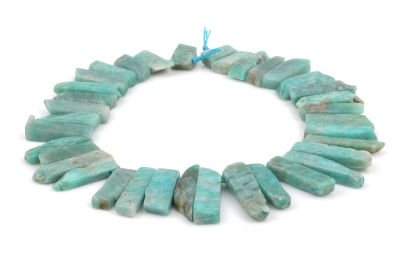 "Blue Green AMAZONITE Gemstone Stick Beads, 3/4"" to 1-3/4"" polished natural gemstone, full strand, about 35-36 beads,  gaz0009"